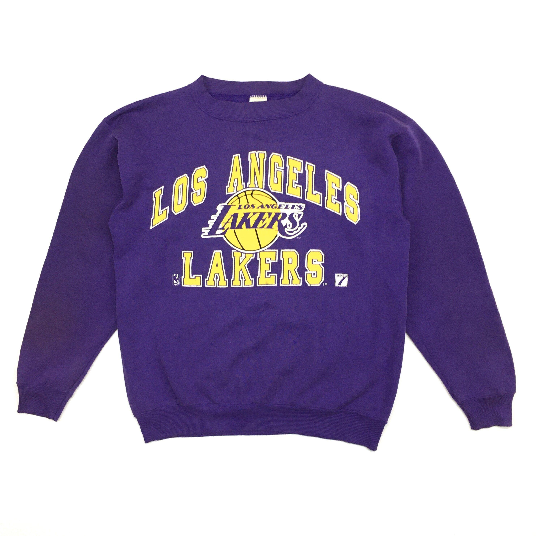 Vintage Los Angeles Lakers Sweatshirt La Lakers Logo Nba Etsy In 2020 Sweatshirts Lakers Logo Crew Neck Sweater