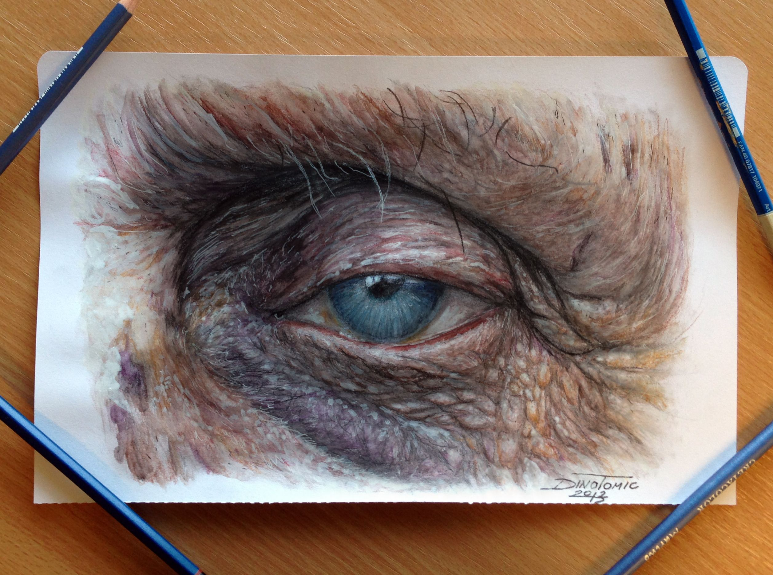 old eye color pencil drawing the fear of dying alone
