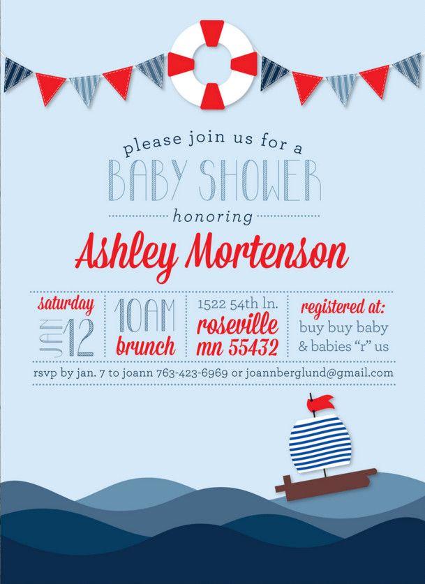 nautical baby shower invitations wording Invites Pinterest - baby shower invitations words