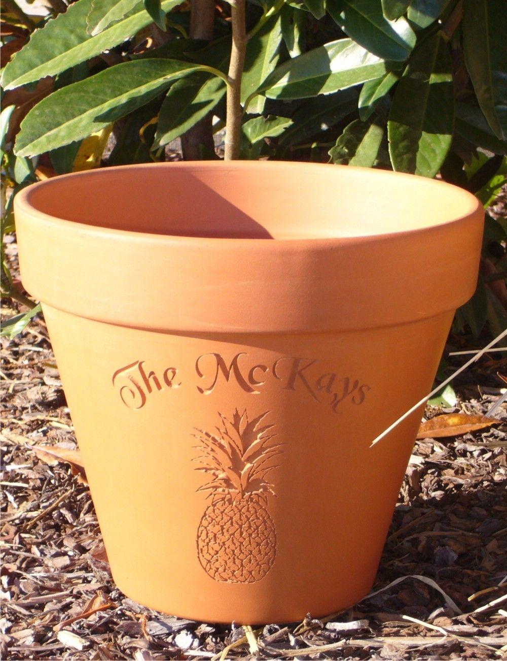custom carved terra cotta flower pot housewarming wedding anniversary gift