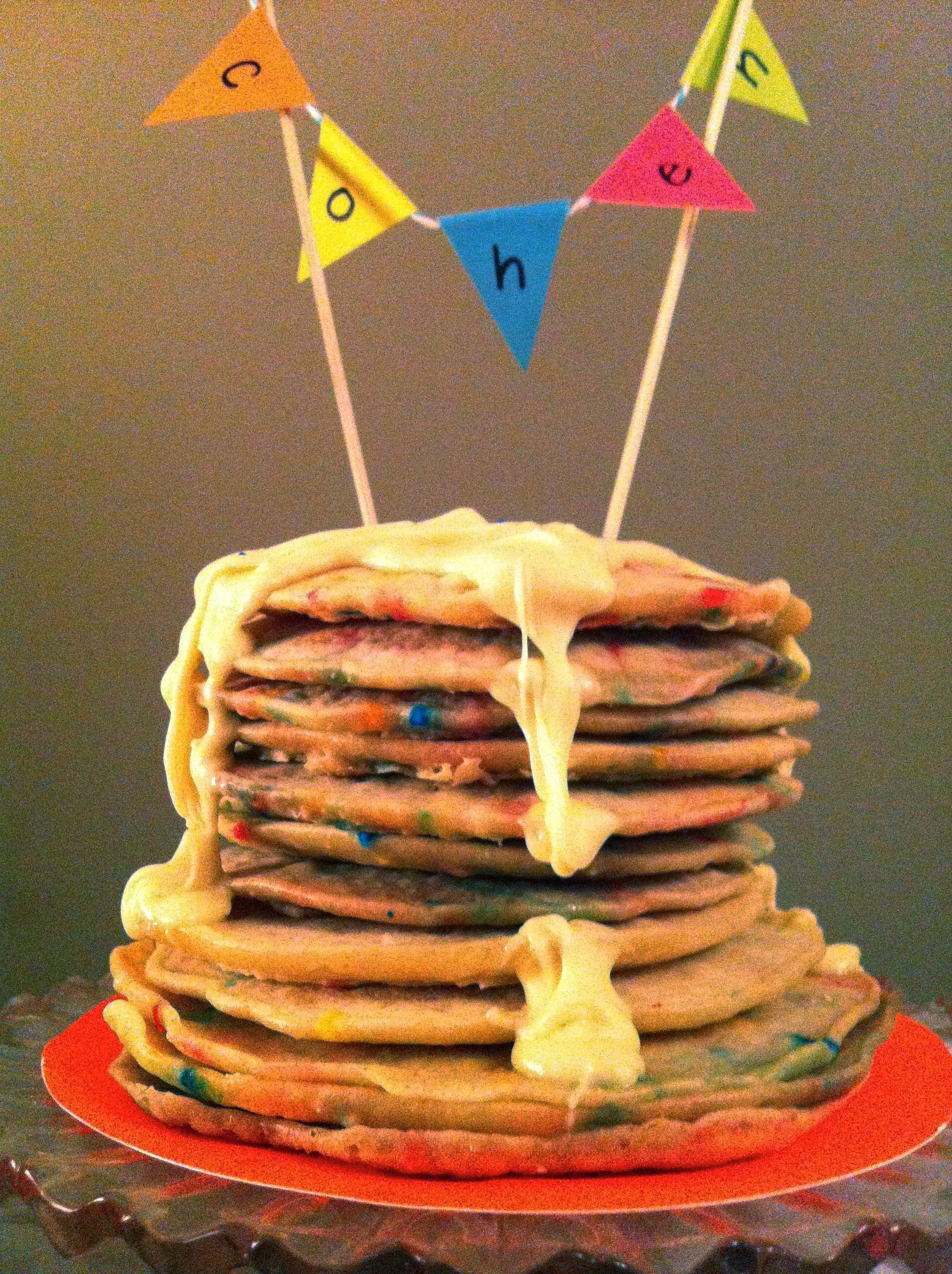 neon inspired pancake stack birthday cake Neon Pajama Pancake