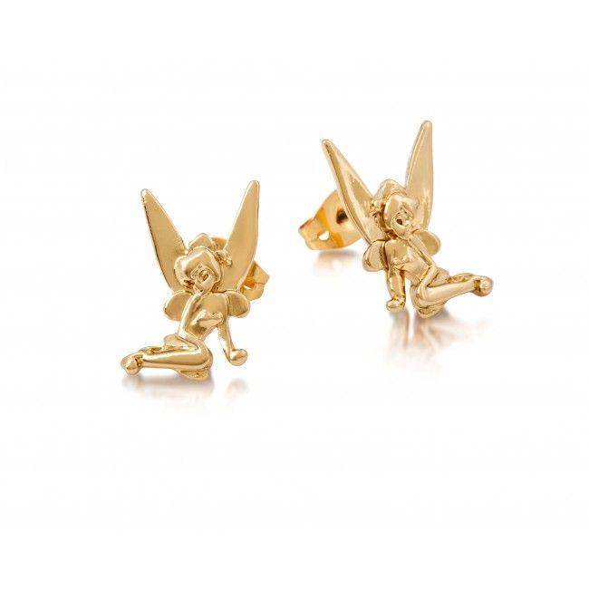 Disney Rose Gold-Plated Tinkerbell with Crystal Wings Hoop Earrings M6a3nO