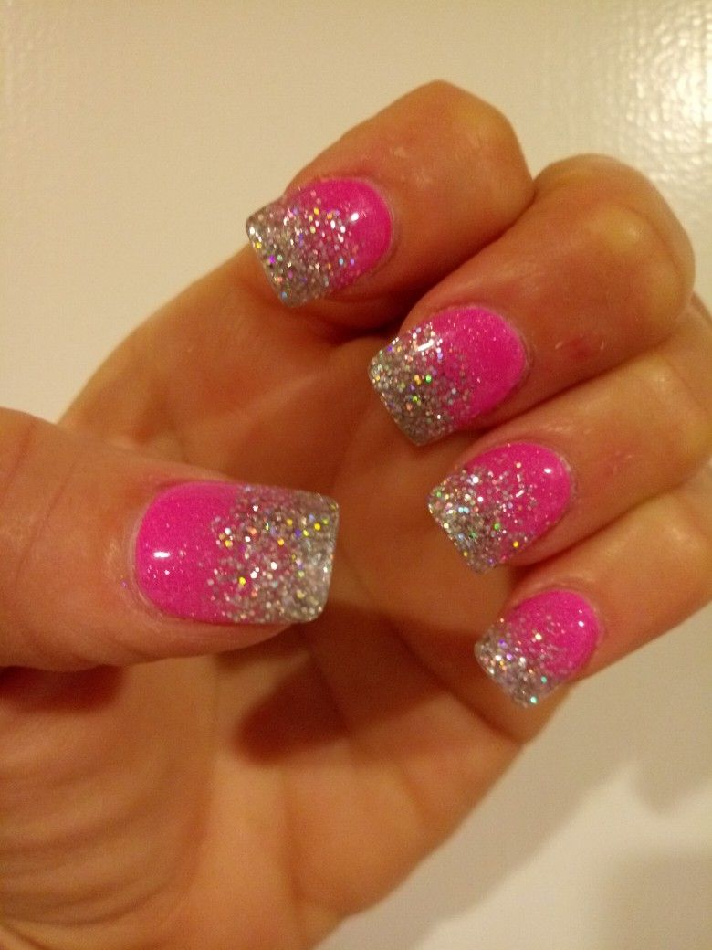 Hot Pink Silver Glitter Ombre Nails Pink Glitter Nails Ombre Nails Glitter Pink Acrylic Nails