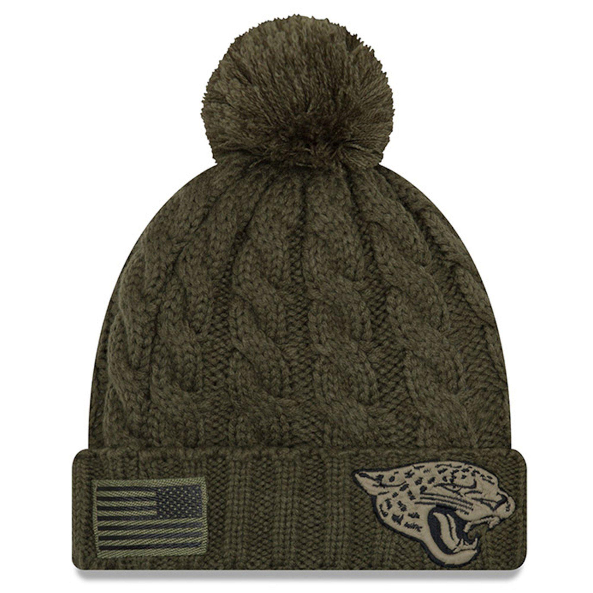 1256b627a NFL Jacksonville Jaguars New Era Women s 2018 Salute to Service Sideline  Cuffed Pom Knit Hat