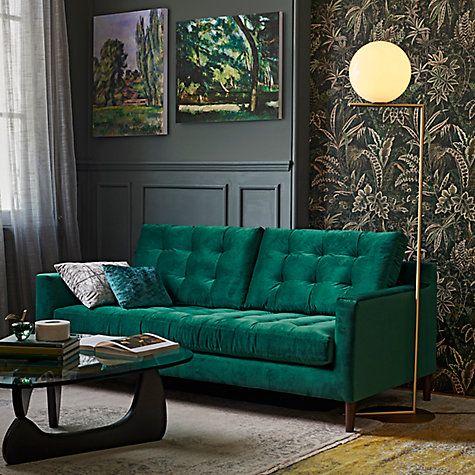 John Lewis Draper Large 3 Seater Sofa Dark Leg Chloe Emerald Luxury Living Room Living Room Interior Living Room Diy