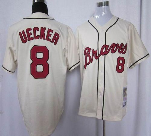 reputable site a7508 65333 Mitchell and Ness Braves #8 Bob Uecker Stitched Cream ...