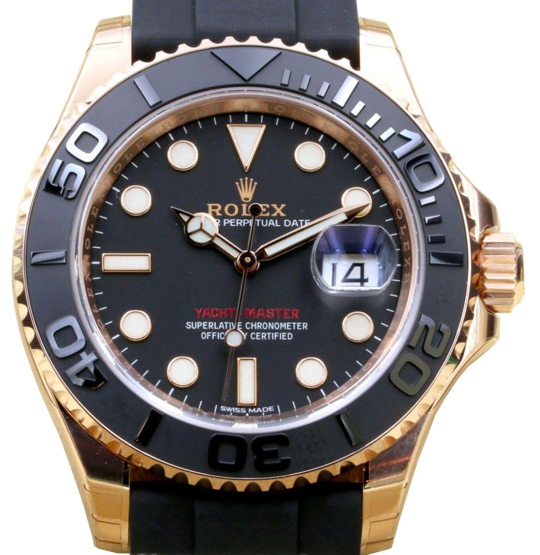 Rolex Yacht Master 40 Rose Gold 116655 Everose 18k Black Ceramic Brand New 2016 腕時計