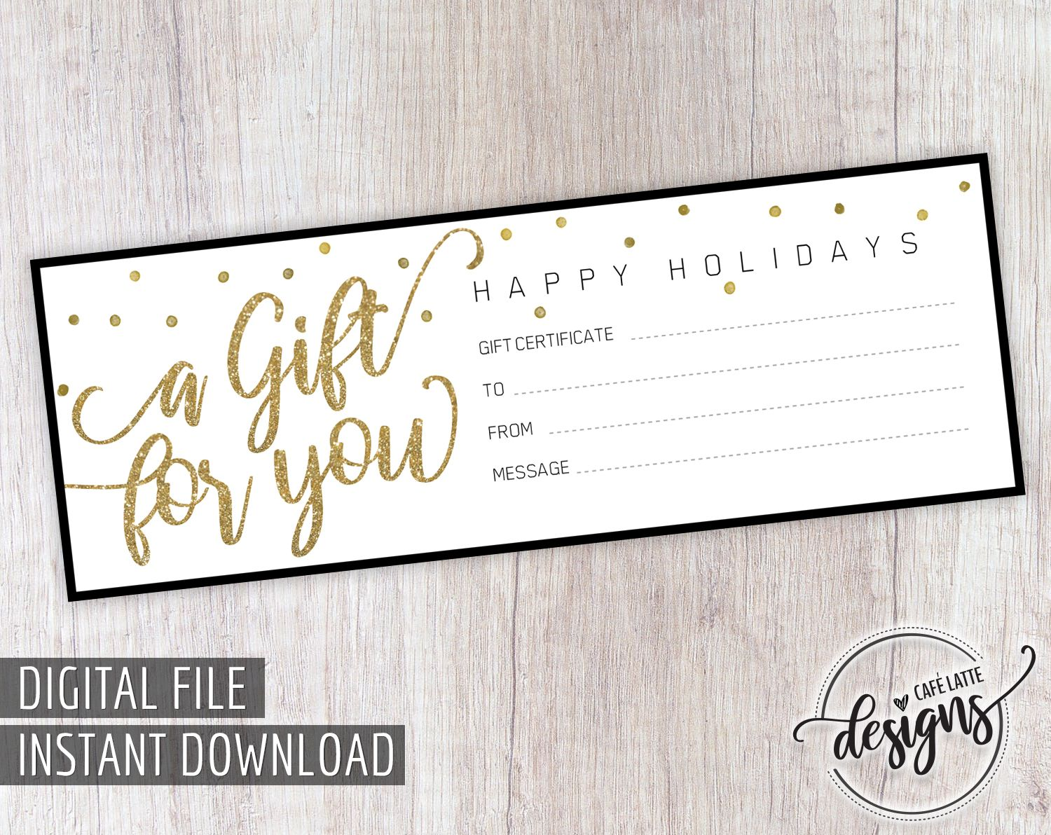 Christmas Gift Certificate Gift Certificate Printable Gift Coupon Gift Instant Download Gift Idea Holiday Gift Black Gold Gift Card Printable Gift Certificate Christmas Gift Certificate Holiday Gift Certificates