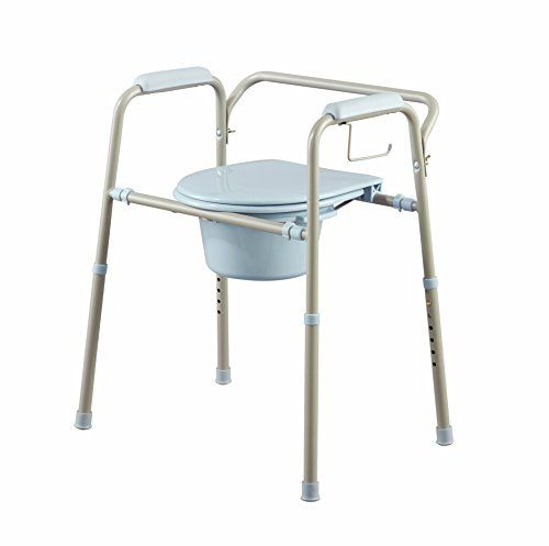Medline 3in1 Steel Bedside Commode With Microban Antimicrobial