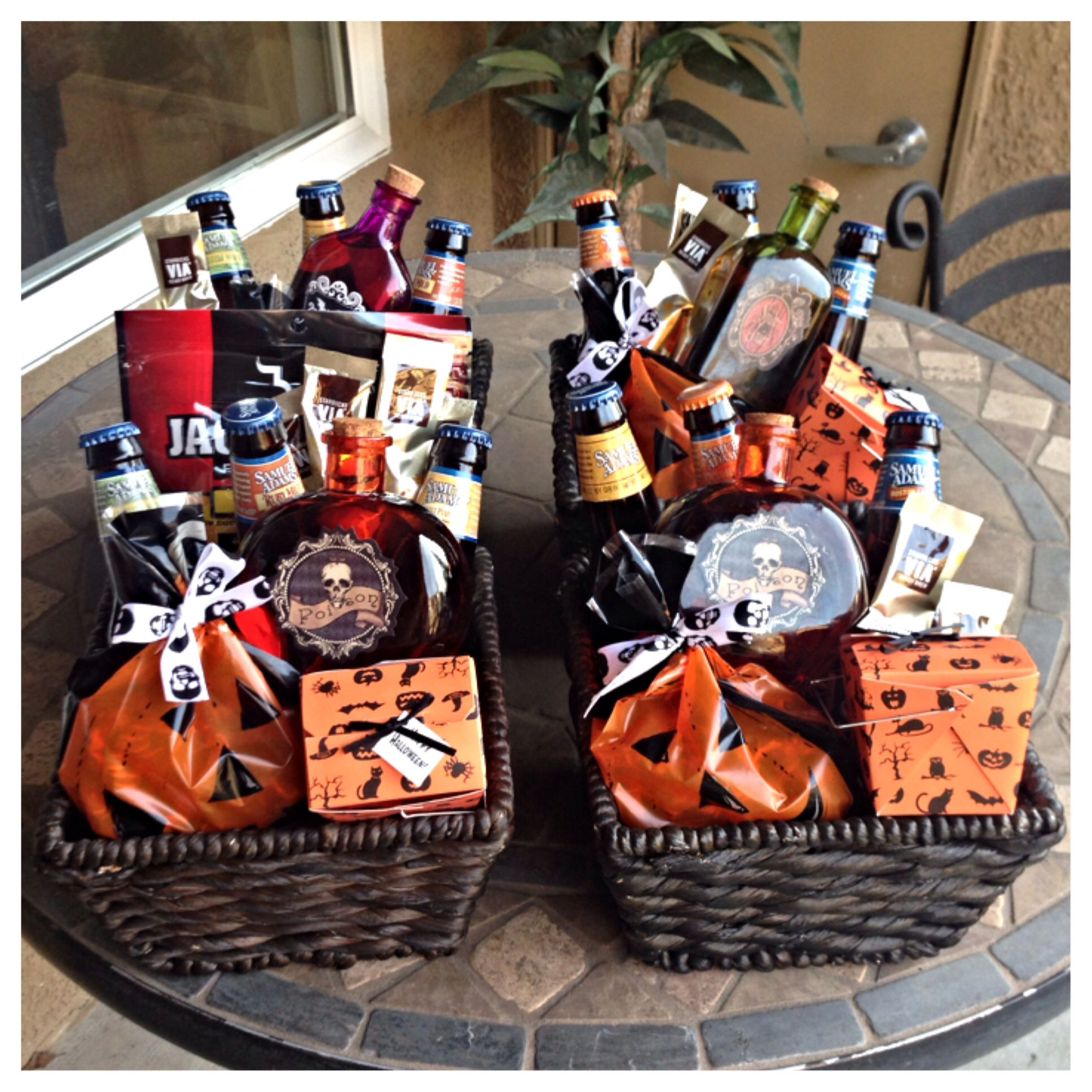 Halloween baskets I made for the guys. Samual Adams, Jim bean in ...