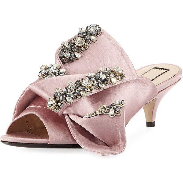 e5705bdf748 No. 21 Jeweled Satin Low-Heel Mule Sandal (56.305 RUB) ❤ liked on ...