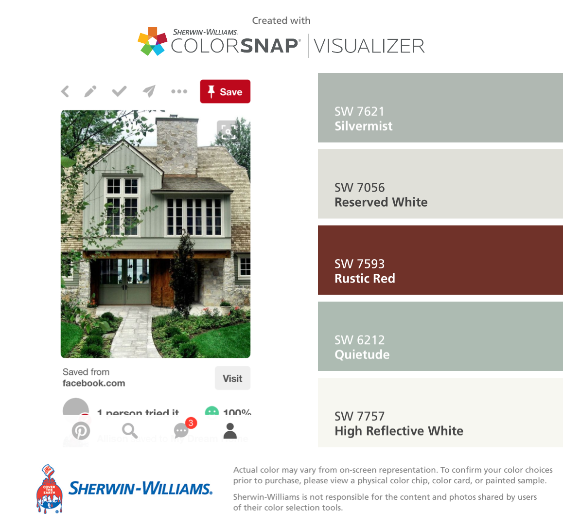 I Found These Colors With Colorsnap Visualizer For Iphone By Sherwin Williams Silvermist Sw