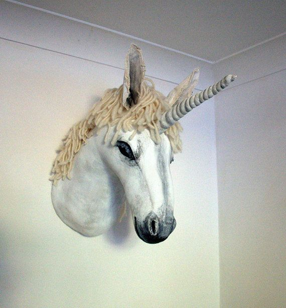 Fabric Taxidermy Unicorn Trophy Head By Winding On Etsy 270 00 Animal Wall Art Trophy Head Animal Sculptures