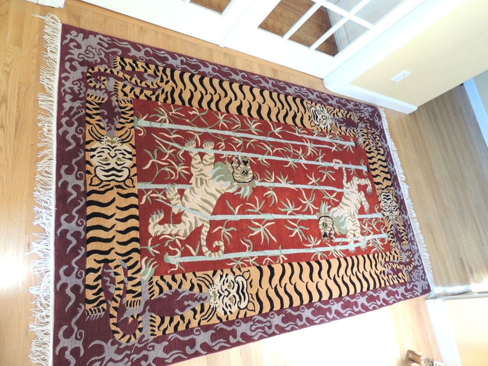 "ASIAN HAND MADE WOOL RUG TIGERS & FOO LIONS 96"" BY 60"" COLORFUL AMAZING #Tibetan"