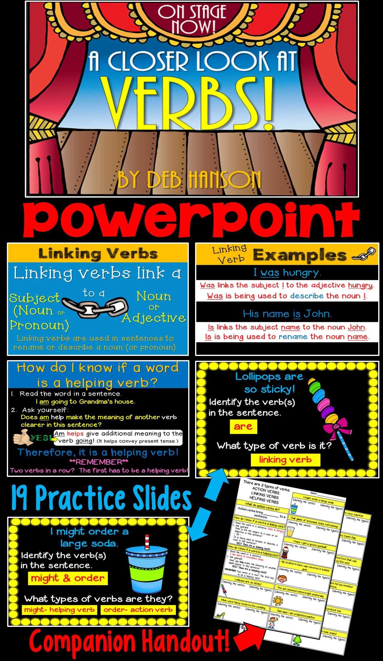 39 Slide Powerpoint Focusing On Action Verbs Linking Verbs And Helping Verbs Contains A Matching Handout Linking Verbs Helping Verbs Verbs Powerpoint [ 2208 x 1280 Pixel ]