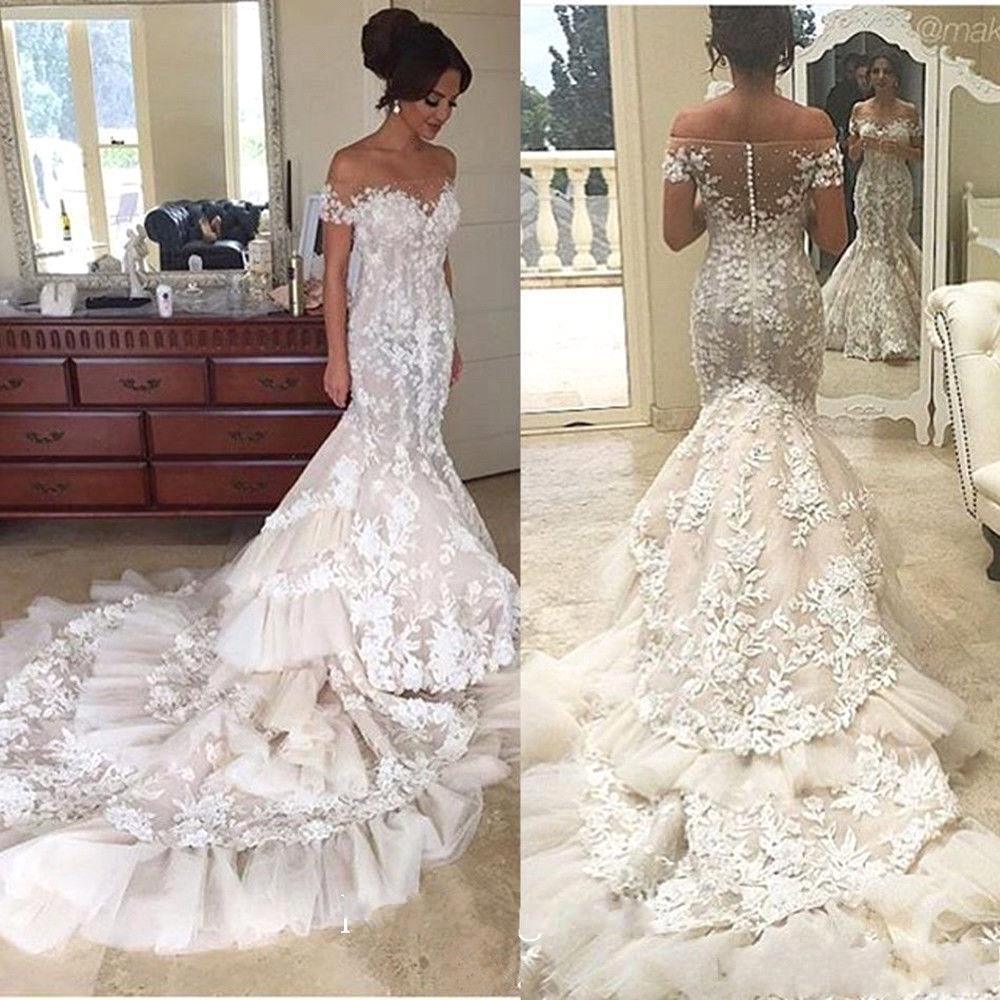 Lace Bridal Dress With Off The Shoulder Mermaid Wedding Train Beautiful Prom Jd 287 From June
