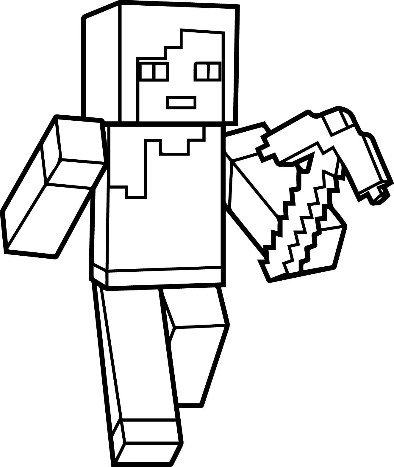 Minecraft Ausmalbilder Skelett : Minecraft Coloring Pages Steve Jpg 1324 1571 Cartoon Video