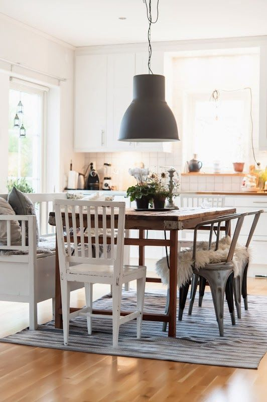 Eclectic types of dining room chairs Informal dining area white