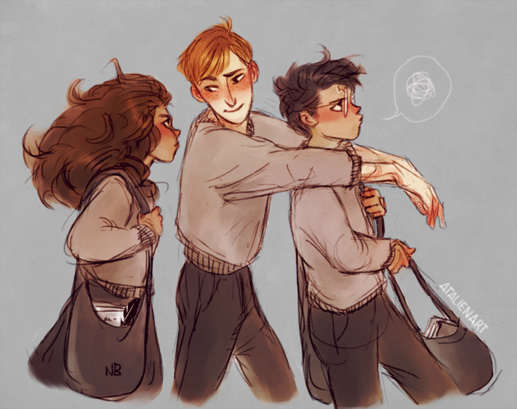 Image result for harry hermione ron fanart
