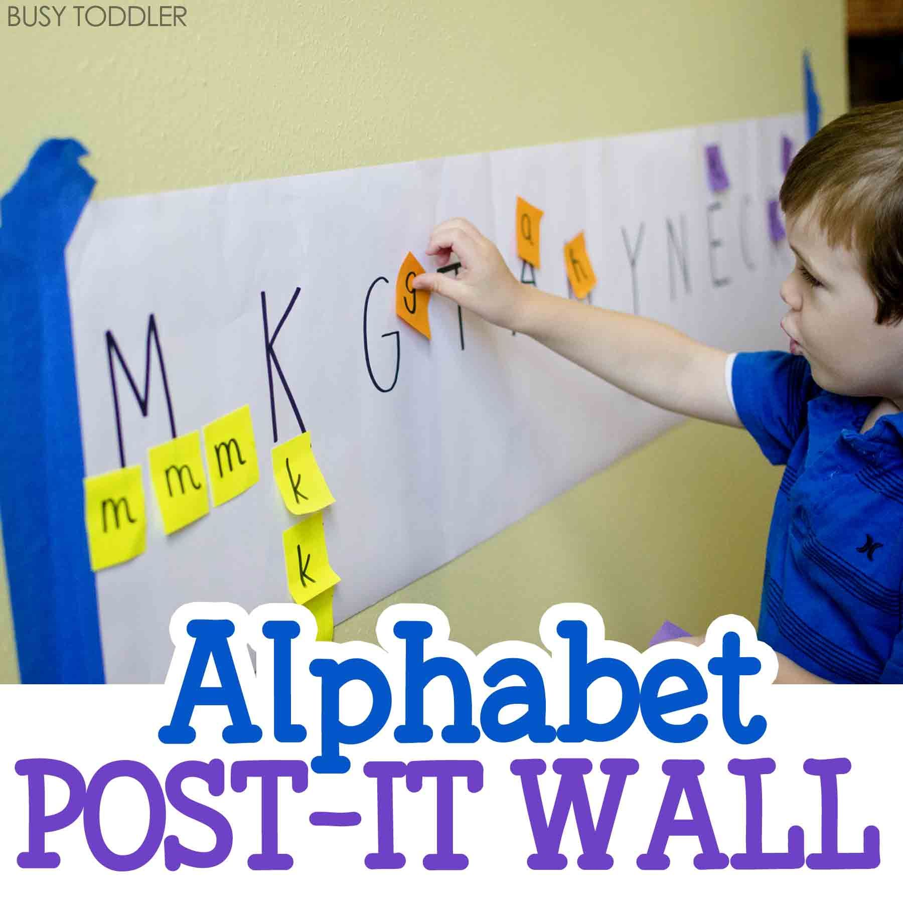 ALPHABET POST-IT WALL: A simple literacy activity for toddlers and preschoolers; create an easy indoor activity; quick and easy rainy day activity