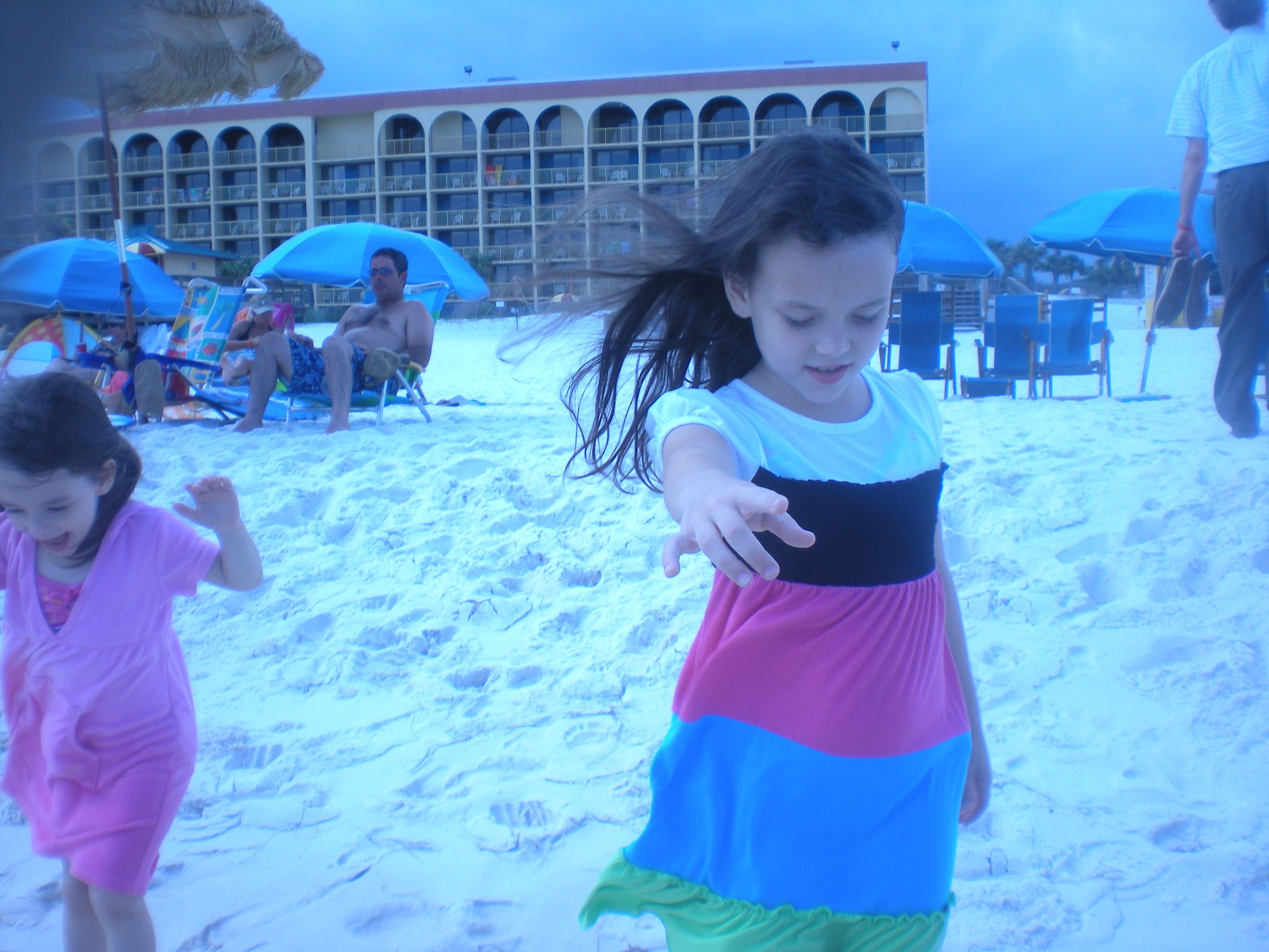 Emilys first time to the beach, as soon as we got to hotel,it was priceless.