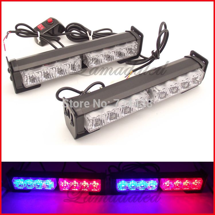 Strobe Lights For Cars Classy 2X8Led Police Strobe Lights Bar Auto Vehicle Flash Lamp 16Led Car