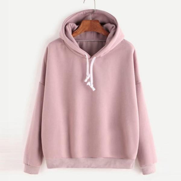 Womens Long Sleeve Solid Color Pocket Hooded Sweatshirt Blouse Tops Shirts Hoodies for Women Pullover Sweatshirt