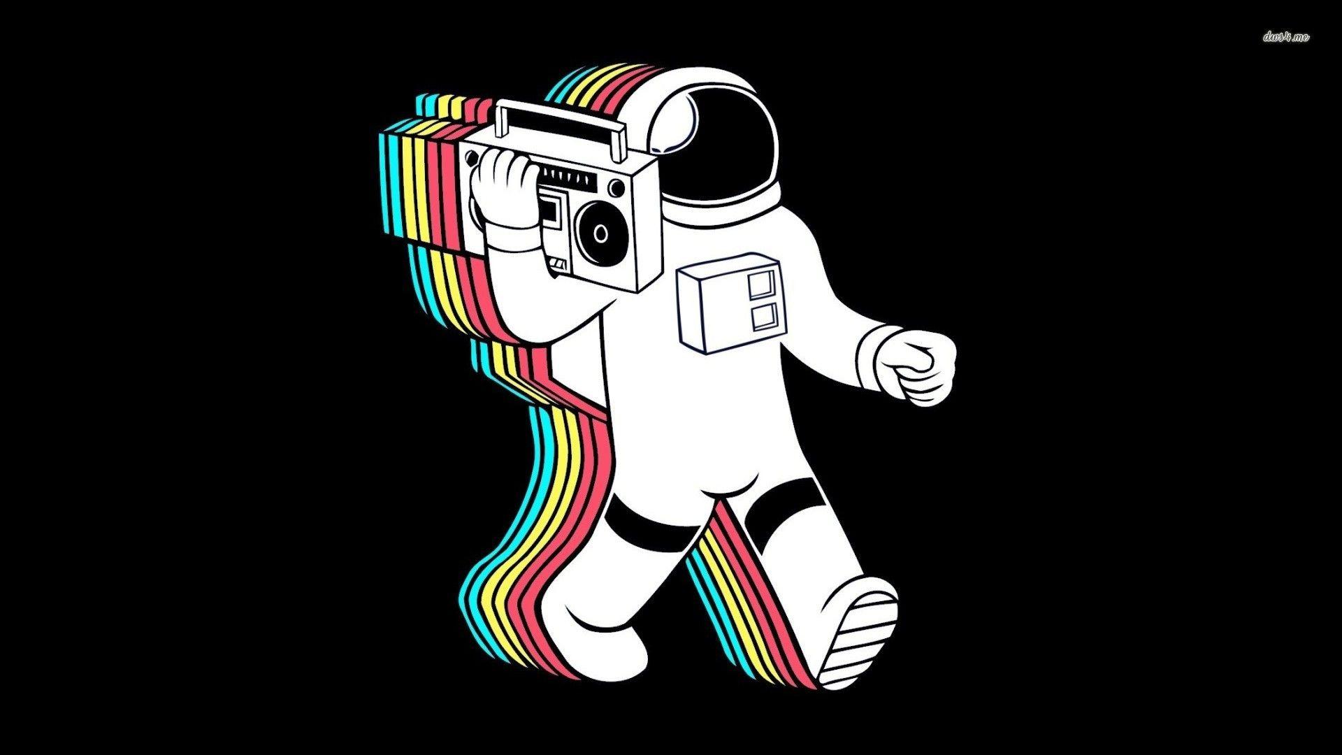 8058 astronaut and boombox 1920 1080 music wallpaper draws