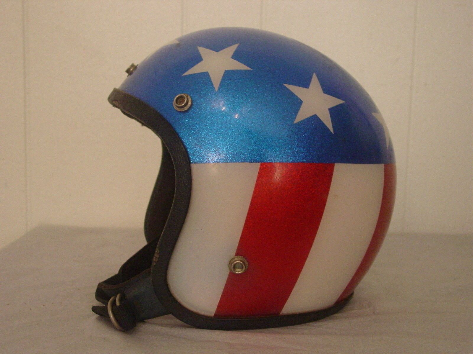 Details about Vintage Motorcycle Helmet Easy Rider Stars & Stripes