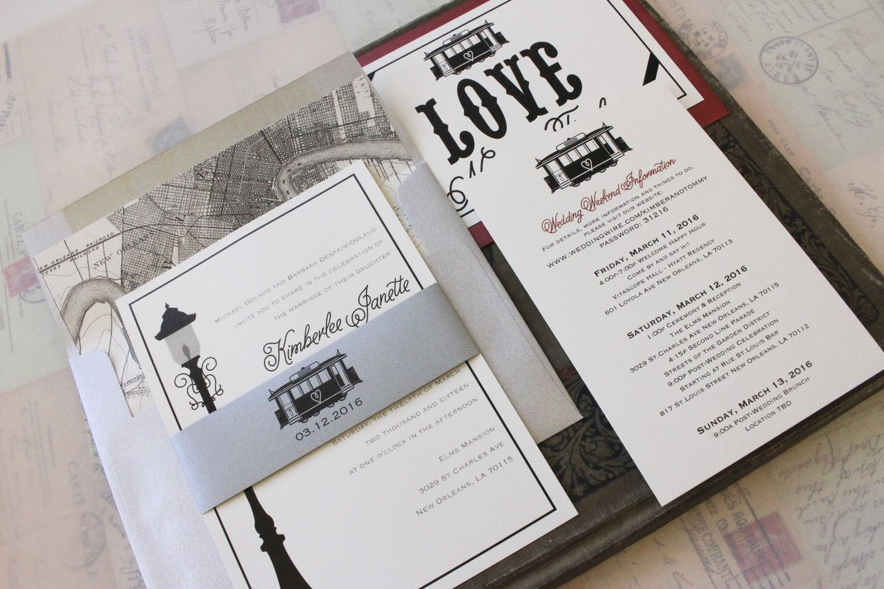 Modern Streetcar Wedding Invitation - New Orleans   Unique wedding ...