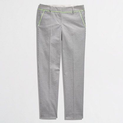 J.Crew Factory - Factory skimmer pant in neon-tipped seersucker: Oh Hey sexy pants! You will be all mine so soon