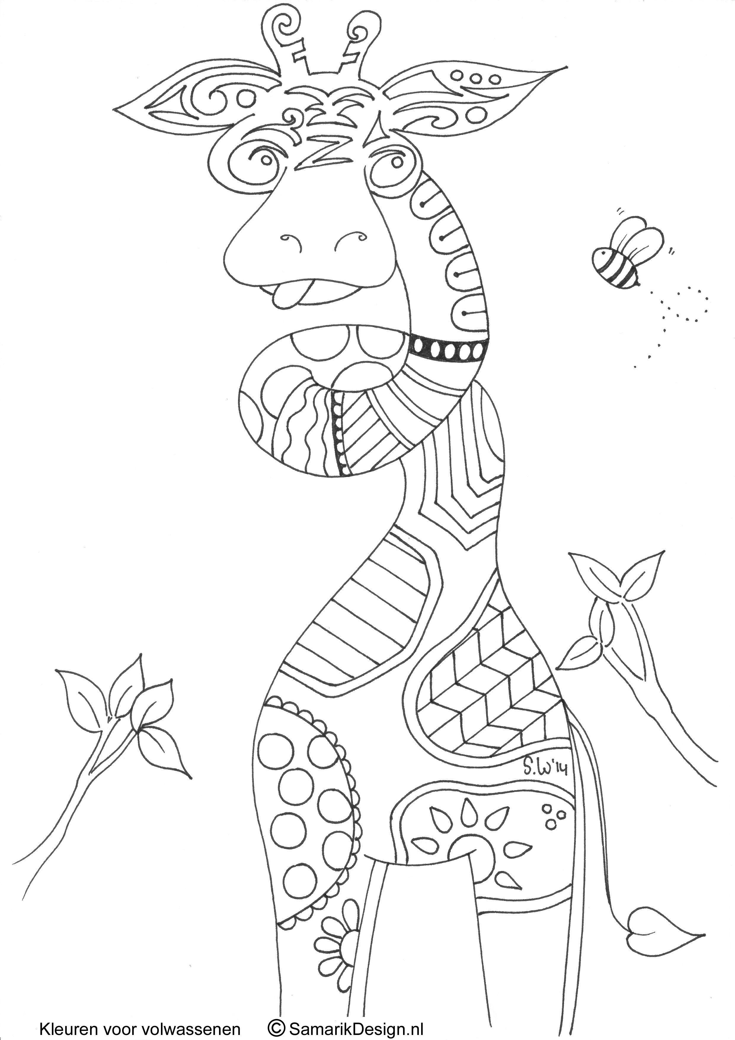 Giraffe Doodle Kleurplaten Kleurplaten Voor Volwassenen Kleuren