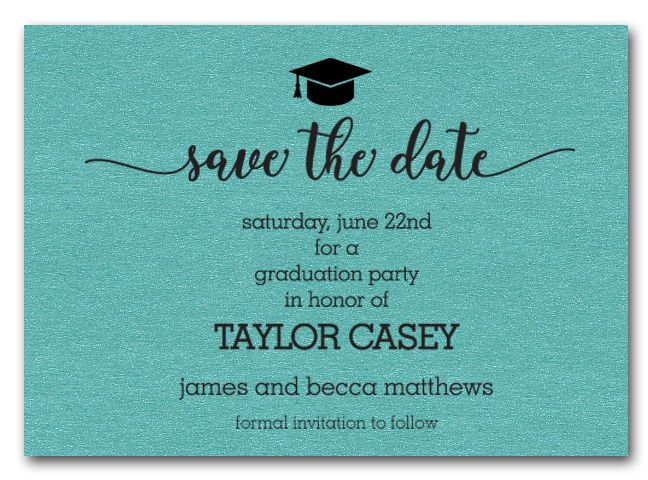 grad hat on turquoise save the date cards bz s graduation