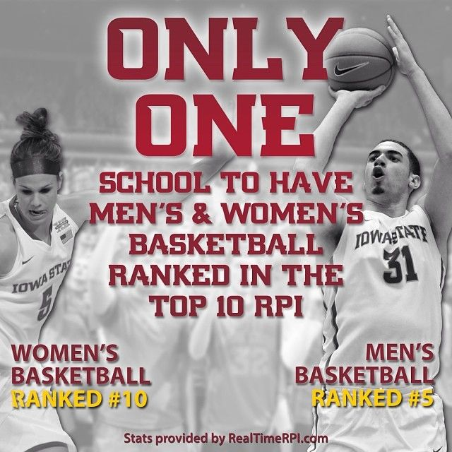 The Cyclones are the ONLY school in the nation to have men's and women's basketball RPI rankings in the top 10! Stats provided by RealTimeRPI.com - 12.30.13