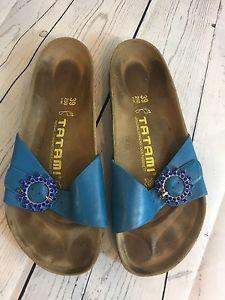 8ed7fd9c8ac Birkenstock Tatami Sandals Slides Women s Size 39 US 8 Blue Rhinestone