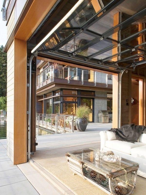 Modern Garage Doors Used For An Indoor Outdoor Living Area I Love The Floorplan Of This House And Balco Garage Door Design House Design Glass Garage Door