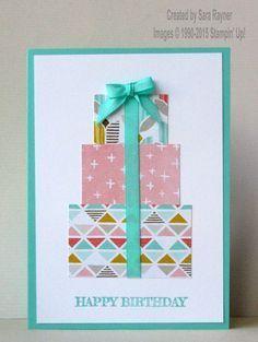 Geburtstagskarte mit Schleife und Paketen #stampmaking