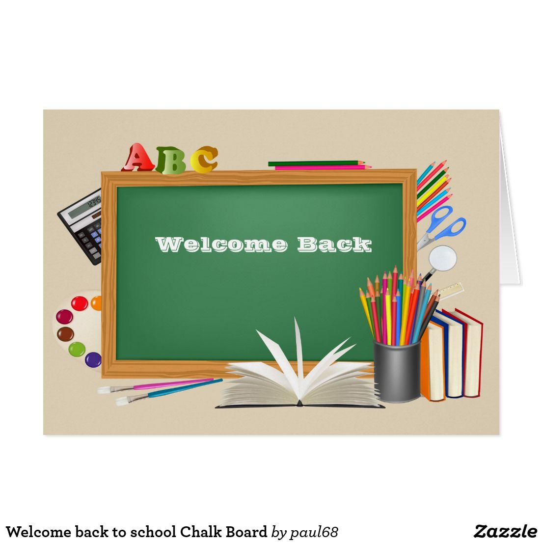 Welcome Back To School Chalk Board Zazzle Com In 2021 Green School Background For Powerpoint Presentation Back To School Wallpaper