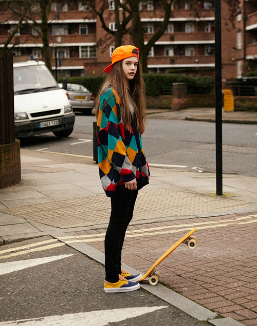 • Skateboard Vans beautiful gorgeous street style London long hair British …