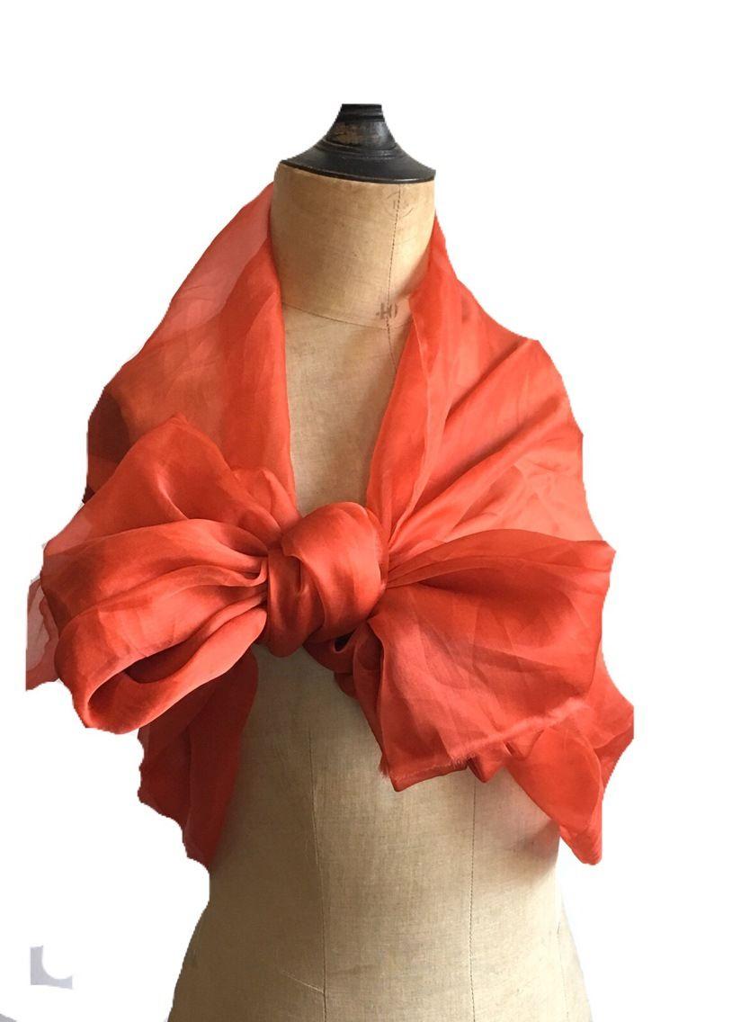 Étole soie orange corail organza bonne tenue, idéale mariage, cérémonies,  gala, cocktail aed62ba1793