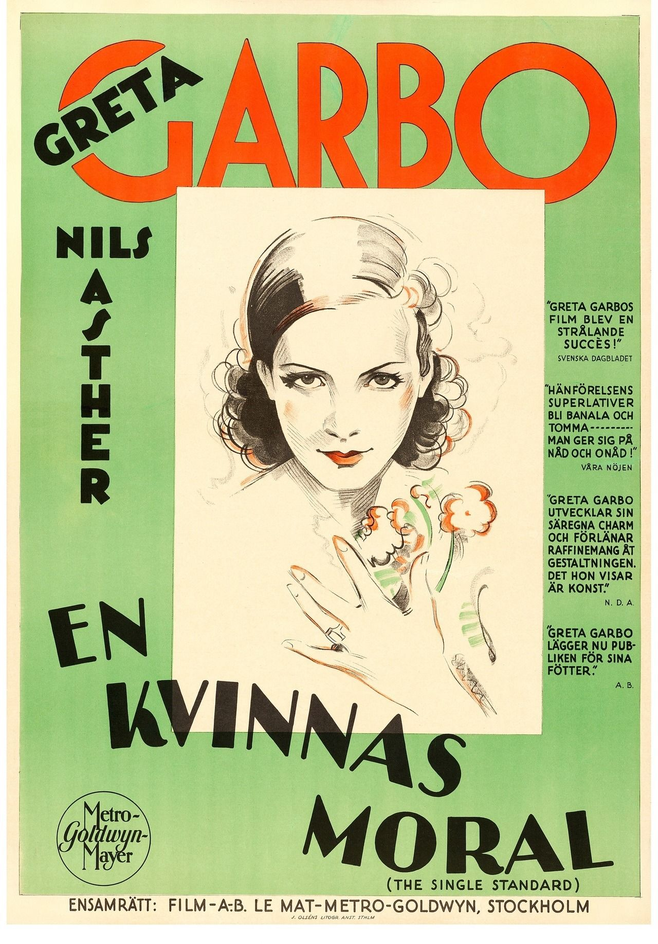 A Swedish Poster For The 1929 Greta Garbo Melodrama The Single Standard Classic Movie Posters Movie Posters Greta Garbo