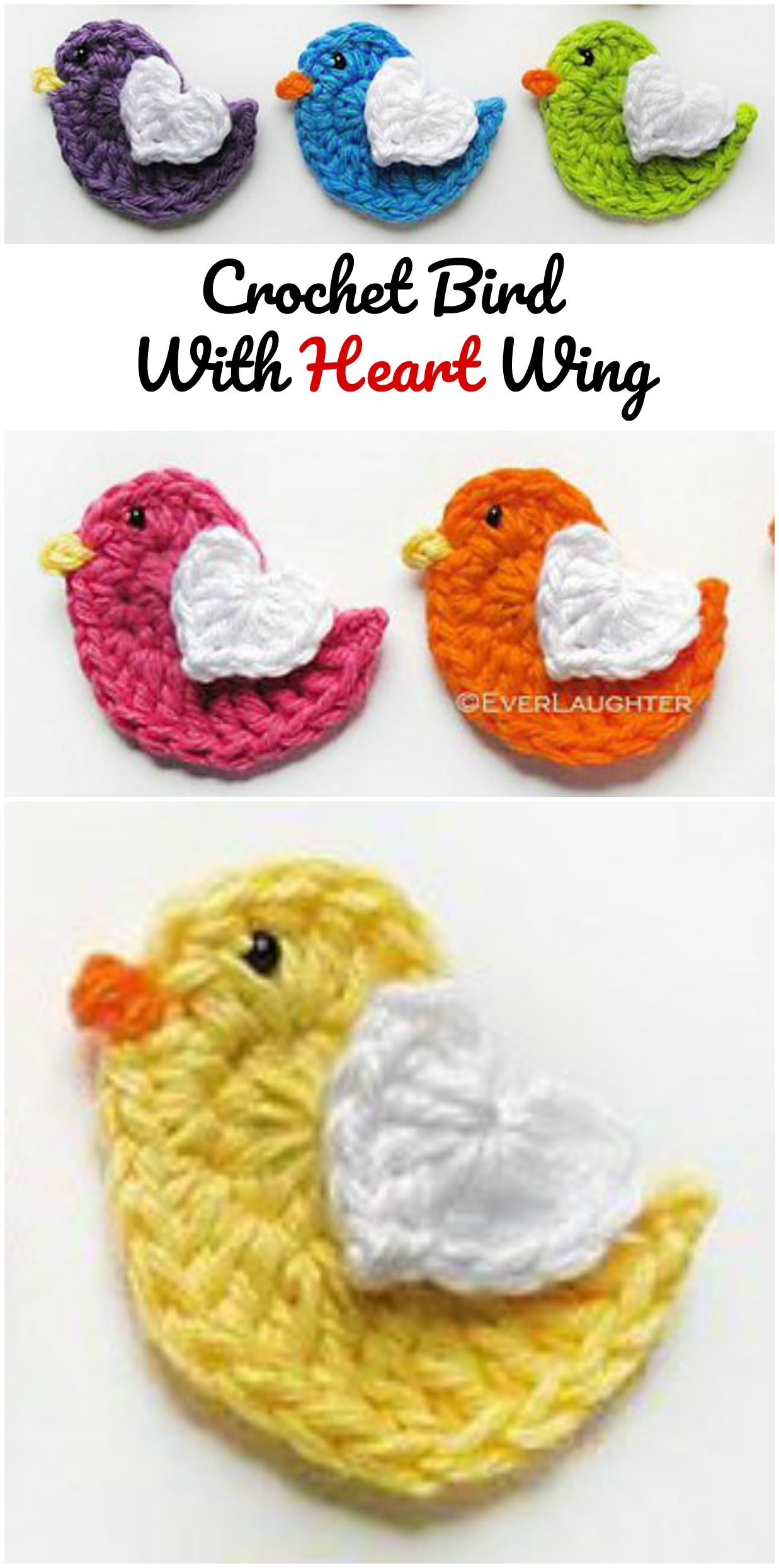 Crochet Lovely Bird Applique | Tejido crochet | Pinterest | Tejido ...