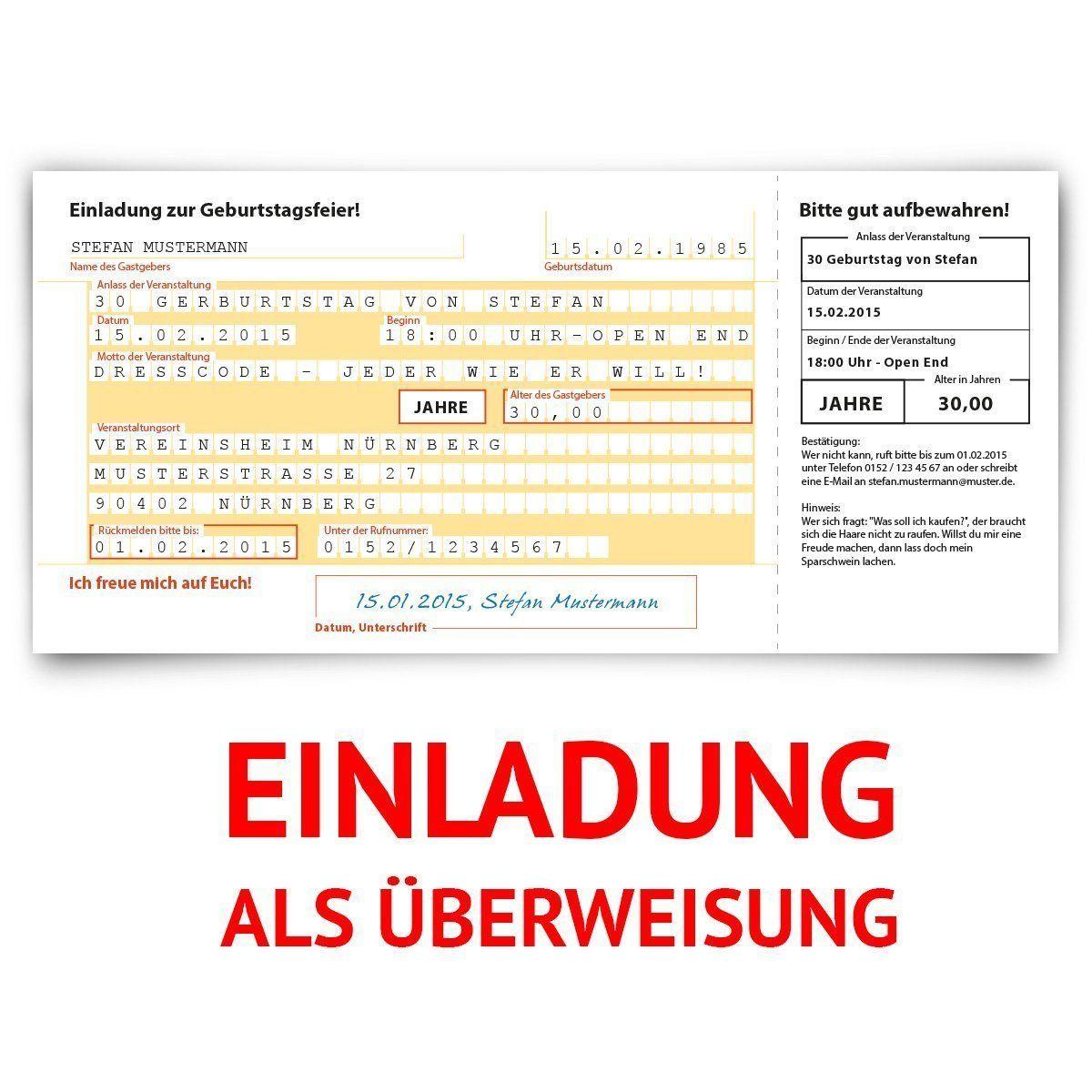 einladungskarten zum geburtstag 30 stck berweisung sepa bank konto zahlung geldsendung - Uberweisung Muster