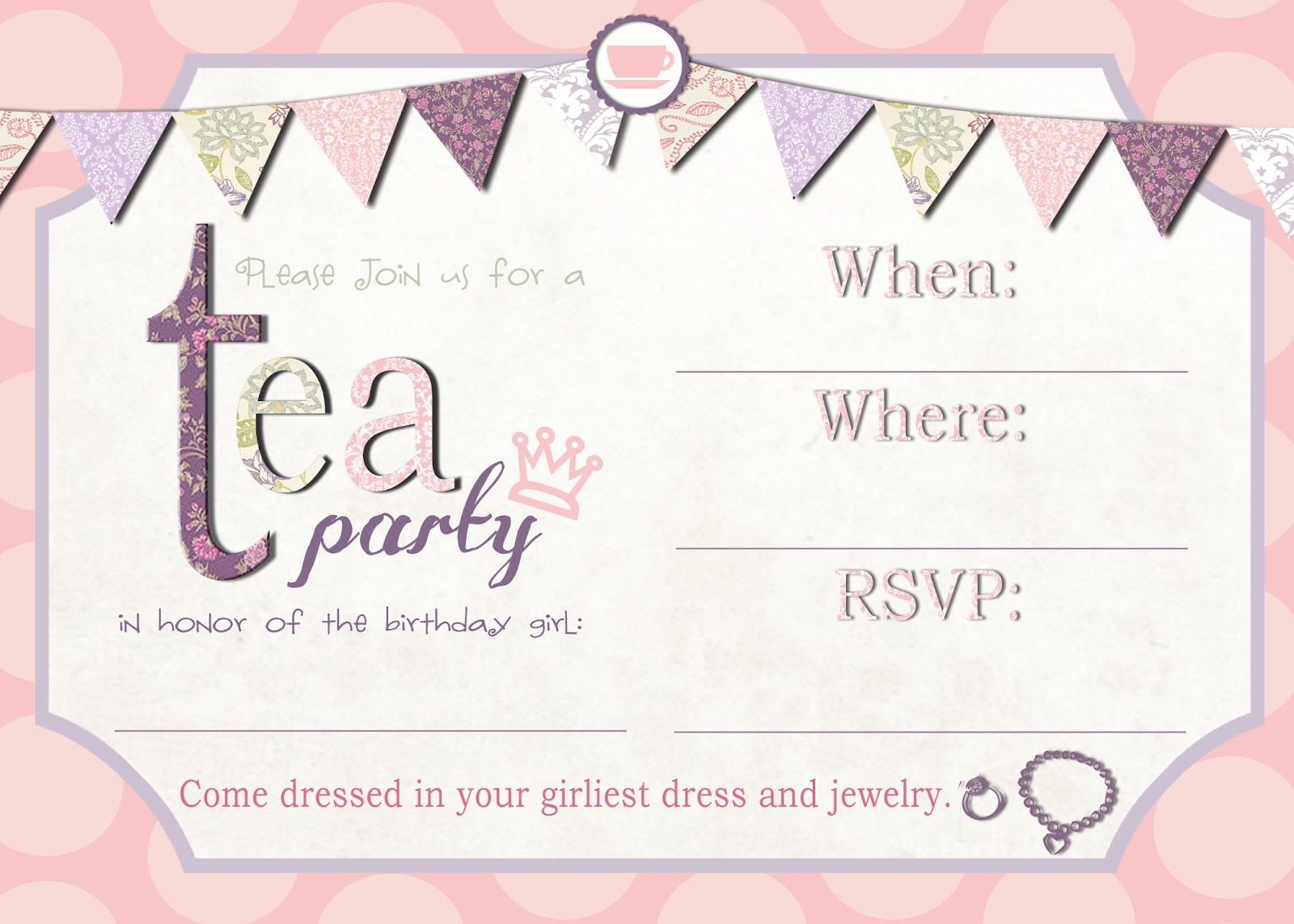 Free Printable Tea Party Invitation Template – Tea Party Invitations Free Template