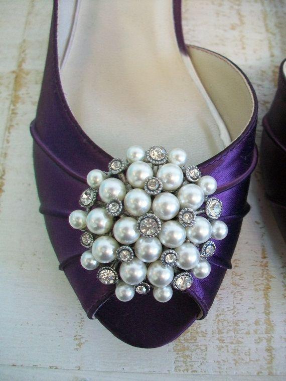 Wedding Shoes   Plum   Purple   Pearl Crystal   Purple Wedding   Purple  Bridal Shoe