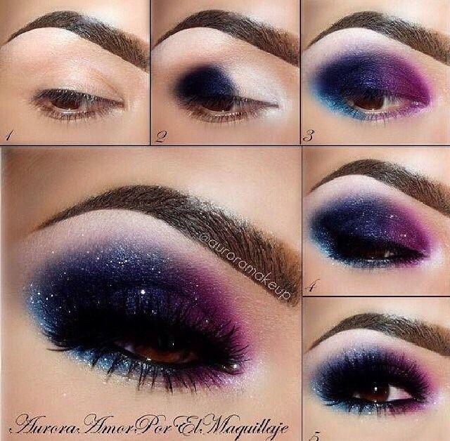 Galaxy Eye Shadow Tutorial Purple Eye Makeup Purple Eye Makeup Tutorial Galaxy Makeup