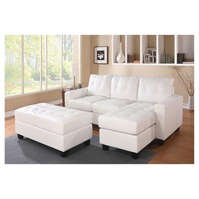 3pc Lyssa Reversible Sectional Sofa White Acme Furniture Sofas Modulares Sofas Seccionales De Cuero Modulares De Cuero