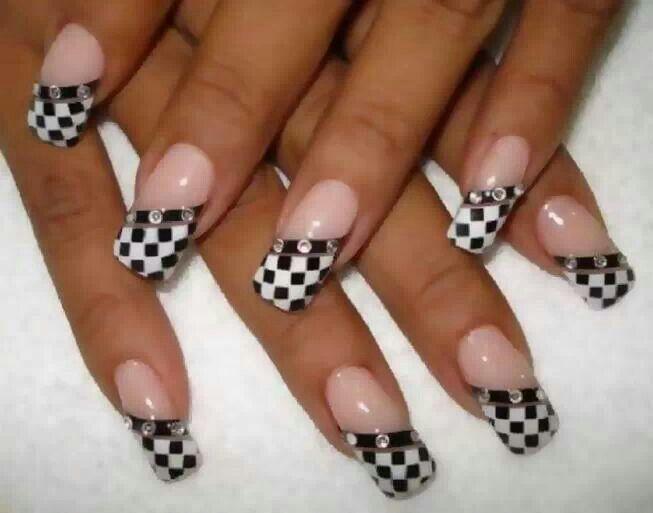 Pin By Sharon Cartwright On Nails Gold Nail Designs Checkered Nails Racing Nails