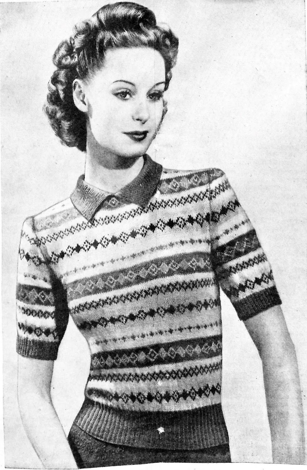 The Vintage Pattern Files: 1940\'s Knitting - A Fair Isle to Use Up ...