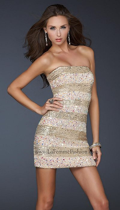La Femme Evening Sexy Gold Beaded Cocktail Dress 17754 | Dresses ...